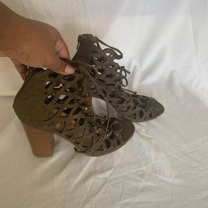 Olive Green Lace Up Heels